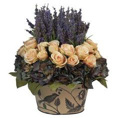Featuring heather and roses nestled in a nature-themed pot, this lovely faux floral arrangement) ($177)