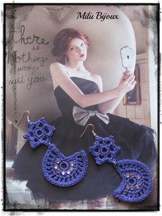 "Crochet earrings ""Moon & Stars"" with strass"
