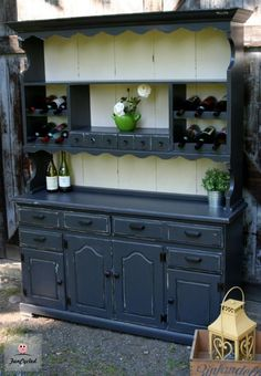 The Hutch with a War Wound Gray Furniture, Reclaimed Furniture, Furniture Projects, Vintage Furniture, Painted Furniture, Home Furniture, Built In Hutch, Hutch Ideas, Hutch Makeover