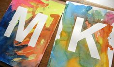 """Week Night Project: Watercolor Initials .... Do an """"&"""" one also and have guest sign. Put in frames and hang in the house."""