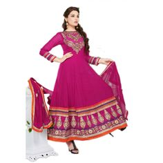 Pink and Matching Georgette #AnarkaliSuits With Dupatta #SalwarKameez #Fashion