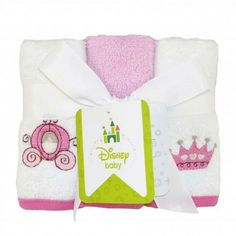 Bathtime is bonding time for you and your baby. This delightfully sweet Disney Princess washcloth set is soft on your little girl's perfect skin. Six washcloths come included in this adorable set – three solid white Disney Princess embroidered cloths and three solid pink cloths. This 100% cotton set coordinates with other Disney Princess bathtime accessories.