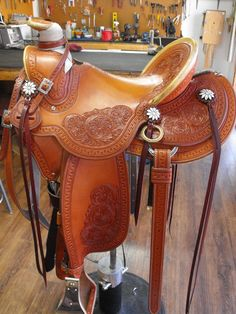Anna Feusner custom saddle by JK Urbach Custom Boots & Saddlery. Urbach made Brett's saddle more than 15 years ago and he still thinks its the best thing since sliced bread.