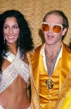 Cher and singer, Elton John, at the Annual Rock Music Awards, Celebrity Fashion Looks, Celebrity Style, Elton John Sunglasses, Elton John Costume, I Got You Babe, My Spirit Animal, Costumes For Women, Music Awards, Rock Music