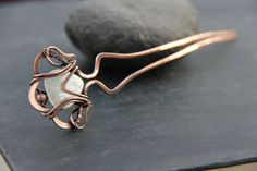 """Copper and Mother of Pearl wire wrap hair fork """"Sea treasure"""", hair pin, hair stick, hair barrette, hair accessories, bridal, antique copper"""