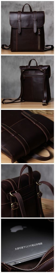 Unisex Genuine Leather Laptop Backpack Knapsack Rucksack Weekender Daypack Bag