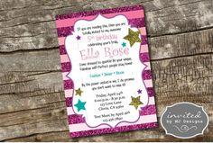 Glitter Girl Birthday Invitation, Ombre stripes, 5x7, Diary Invitation, Sparkle, Gift Tags, Pink, Purple, Digital Download