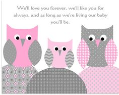 Love You Forever, Owl Nursery Decor, Baby Girl Nursery, Girl Owl Decor, Grey and Pink Nursery, Owl Canvas Decor, Canvas Wall Art, Owl Print by SweetPeaNurseryArt on Etsy