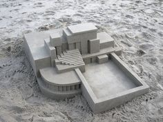 New Contemporary Sand Castles by Calvin Seibert Artist Calvin Seibert, also known as Box Builder, constructs architectural sand structures, which are famous for their modern and sleek design. Keep reading Sculpture Art, Sculptures, Satisfying Pictures, Colossal Art, Concrete Design, Sand Art, Brutalist, Public Art, Oeuvre D'art