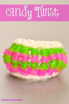 How to make a Candy Twist Bracelet - Rainbow Loom video tutorial