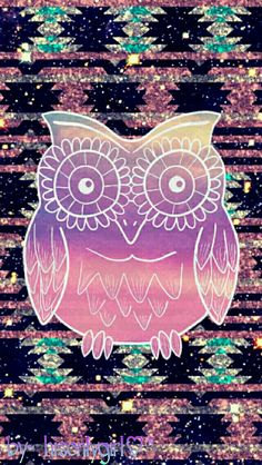 Tribal owl glitter galaxy wallpaper I created for the app CocoPPa.