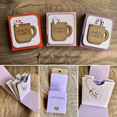 Tea Holder, Diy And Crafts, Paper Crafts, Christmas Gift Box, Happy Mail, Stamping Up, Goodies, Creations, Diy Projects