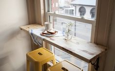 Small Space Hack! Turn a Window into a Breakfast Nook via Brit + Co.