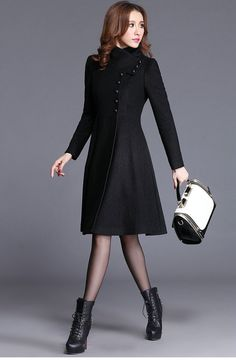 Maxi woolen coat for women, long women coat jacket, solid black single breasted jacket coat for women