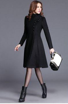 Maxi woolen coat for women, long women coat jacket, solid black single breasted jacket coat for women