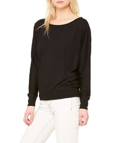 a5f854660d0 Flowy Wide Neck Long Sleeve Tee Giving, Long Sleeve Tees, Off The Shoulder,