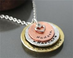KatieB is an online boutique specializing in monogrammed jewelry, clothing, accessories, and gifts as well edited, affordable selection of on-trend jewelry and clothing designs. Heart Hands, Hand Stamped Necklace, Mini Heart, Metal Necklaces, Jewelry Trends, Washer Necklace, Rustic, Boutique, Gifts