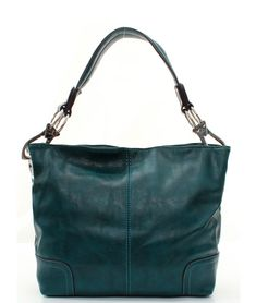 Gorgeous Deep Teal Hobo on Emma Stine Limited  Leatherette?  I'm thinking it's not genuine leather ;), still, it's a gorgeous bag, at a good price!!