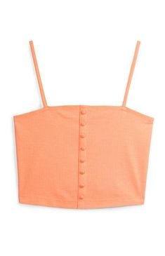 Orange Button Cami Top Cute Crop Tops, Cami Tops, Frill Tops, Going Out Tops, Crochet Blouse, Striped Linen, Black Laces, Printed Shirts, Outfits