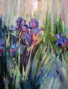 "Violet Iris, painting by artist Mary Maxam….Wlll forever remind me of my wonderful grandmother "" Pompene"" ….One of the many  amazing and inspirational  women  in my life. I remember her vividly water her Iris bed at Night ! She had particular thoughts on what would yeld the best result:-)"
