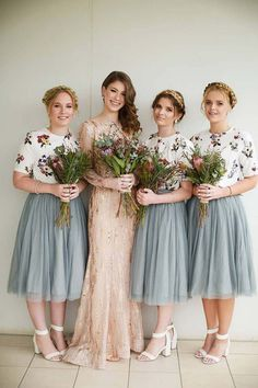 Vintage bridesmaids wearing floral print top and tea length blue tulle skirt with native Australian flowers Deezigner Images 2 Piece Bridesmaid Dress, Bridesmaid Skirt And Top, Tea Length Bridesmaid Dresses, Vintage Bridesmaid Dresses, Bridesmaid Outfit, Tea Length Dresses, Wedding Bridesmaids, Vintage Dresses, Wedding Dresses