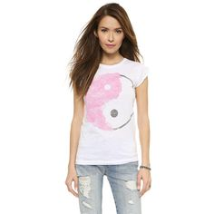 Happiness Ying Yang Peace Tee featuring polyvore, fashion, clothing, tops, t-shirts, white, cap sleeve top, crewneck tee, white tee, white crew neck t shirt and white crew neck tee