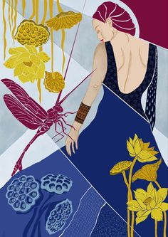 In Royal blue dress the lady is walking allowing bright but dangerous love to sting her Dangerous Love, Blue Lotus, Lotus Flower, Midnight Blue, Blue Sapphire, Blue Dresses, Artwork, Prints, Anime