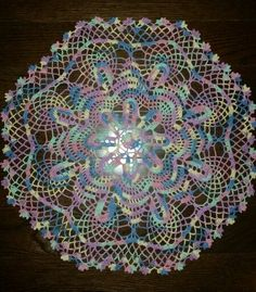 """Rose Medallion Doily"" Crochet  Book: ""Southmaid Tabletop Elegance"" .  Thread is ""Pastel"" from Aunt Lydia - size 10 1.5 mm hook. My First Doily! Made by Donna QC"