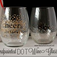 Dot Hand Painted Wine Glasses #handmadegift