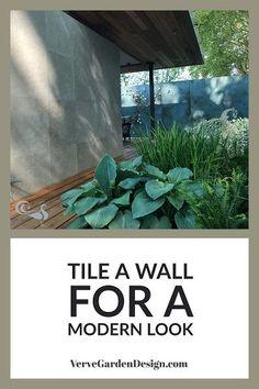 Modern Garden Wall Tiles in the Morgan Stanley Garden for NSPCC.  #garden #gardendesign #gardenwalll #gardenwalltiles #moderngarden #vervegardendesign Designer: Chris Beardshaw. Image: Lorraine Young/Verve Garden Design.