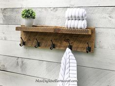 Combine Vintage and Modern Rustic style charm with this stylish and functional Rustic Farmhouse Bathroom Towel Rack with Shelf.From our CHUNKY Collection this Beautiful Rustic Country Farmhouse… Rustic Entryway, Rustic Decor, Rustic Style, Modern Rustic, Bathroom Shelves For Towels, Towel Rack Bathroom, Towel Shelf, Rustic Bathroom Shelves, Rustic Shelves