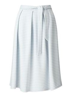 Pale Blue Stripe Midi Skirt