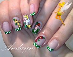 Green with White Polka Dots Tipped Mani with Peter Pan and Tinkerbell Accent Nails