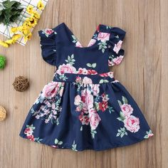 Flowers truly are a girl's best friend. This lovely floral dress is a definite must have for your little doll! Dress Outfits, Kids Outfits, Fashion Outfits, Dress Clothes, Toddler Dress, Baby Dress, Cute Girl Dresses, Girl Sleeves, Little Doll
