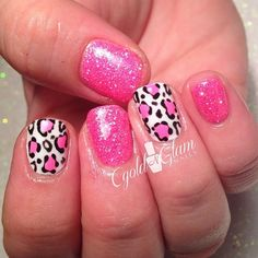 GEL NAIL HOT PINK AND LEOPARD PRINT