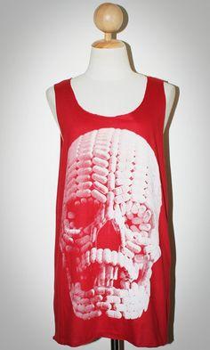 Pill Skull Halloween Red Tank Top Sleeveless Women Singlet Art Punk Rock T-Shirt Size M