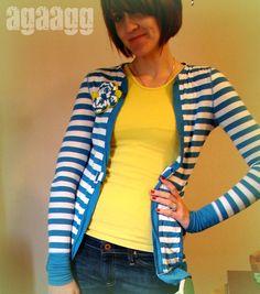 A girl and a glue gun: shirt into cardigan