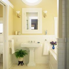 Cute Small Bathroom Yellow Bathrooms Downstairs Bathroom Yellow And Gray Bathroom In 2019 Gray Bathroom Decor White And Grey Bathroom With Yellow Accents And Fa Cheap Bathrooms, Yellow Bathrooms, White Bathroom, Bathroom Small, Burgundy Bathroom, Warm Bathroom, Neutral Bathroom, Yellow Bathroom Paint, Bathroom Plants