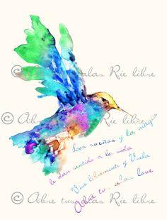 Ilustración con acuarelas - Colibrí milticolor con frase de vive libremente y vuela