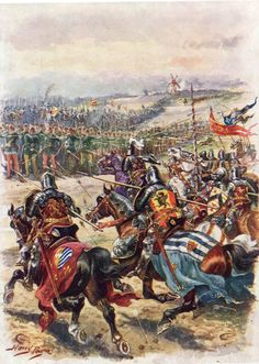 The charge of the French knights at the Battle of Creçy on 26th August 1346 in the Hundred Years War: picture by Harry Payne