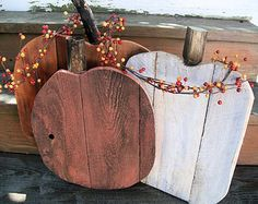Awesome Set of Fall Pumpkins Stained Pallet Wood by LowerArkCrafts
