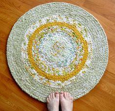 Crochet Area Rug - Mustard Sage Garden. $94.00, via Etsy.