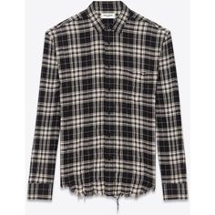 Saint Laurent Signature Oversized Yves Collar Shirt ($725) ❤ liked on Polyvore featuring men's fashion, men's clothing, men's shirts, men's casual shirts, yves saint laurent mens shirt, men's collared shirts, mens oversized shirt, mens button front shirts and mens long sleeve casual shirts