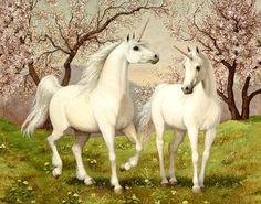 Two White Unicorns Glowing.