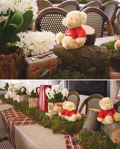 Teddy Bear birthday party or baby shower centerpieces Teddy Bear Birthday, Winnie The Pooh Birthday, Birthday Party Centerpieces, Table Centerpieces, Teddy Bear Centerpieces, Quinceanera Centerpieces, Wedding Centerpieces, Urso Bear, Teddy Bear Cupcakes