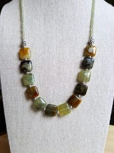 Multicolored Jade Necklace / Earthy Hued Necklace / Jade Moon Jewelry, Clay Jewelry, Jewelry Crafts, Jewlery, Jade Necklace, Stone Necklace, Handcrafted Jewelry, Handmade Necklaces, Chunky Jewelry