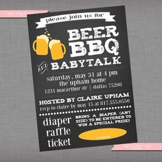 Coed Baby Shower Invitation | Beer BBQ and Baby Talk | Printable Couples' Custom Baby Shower Invitation