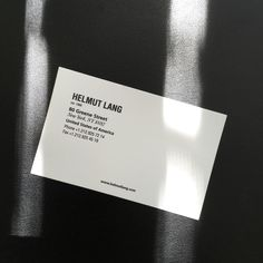 Helmut Lang business card, Circa New York - Graphic Files Graphic Design Templates, Print Templates, Label Design, Print Design, Letterhead Template, Best Resume Template, Cool Business Cards, Business Card Design, Clothing Packaging