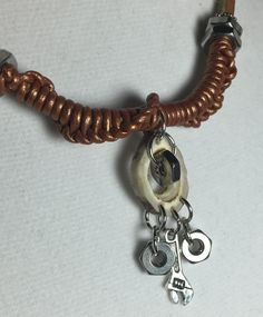 Handmade, Hand Carved Antler, Nuts & Wrench on leather adjustable Necklace by WishboneJewelryCraft on Etsy