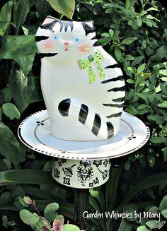 Kliban Cat Garden Totem / Bird Feeder  As by GardenWhimsiesByMary, $35.00